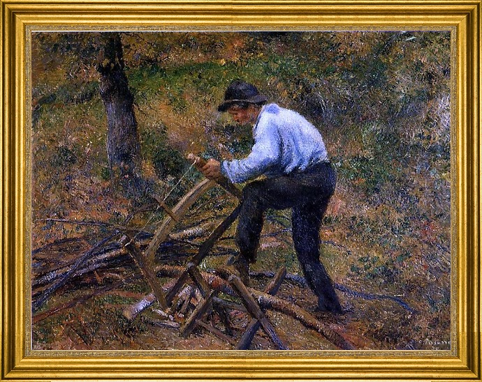 "Art MegaMart Camille Pissarro Pere Melon Sawing Wood - 18"" x 24"" Framed Premium Canvas Print at Sears.com"