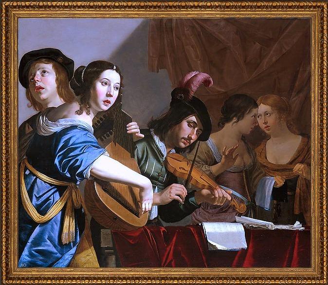 "Art Oyster Jan Van Bijlert Musical Company - 16"" x 20"" Framed Premium Canvas Print at Sears.com"