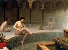A Bath Woman Bathing Her Feet - Jean-Leon Gerome