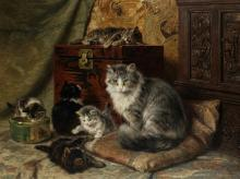 A Cat and Her Kittens at Play - Henriette Ronner-Knip