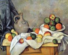 A Curtain, Jug and Fruit - Paul Cezanne