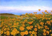 A Field of Buttercups by the Coast