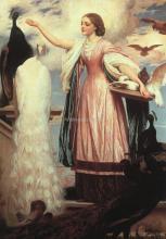A Girl Feeding Peacocks - Lord Frederick Leighton