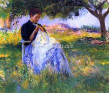 A Girl Sewing in an Orchard - Edmund Tarbell