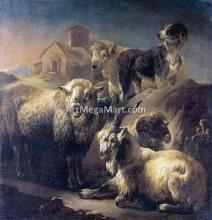 A Goat, Sheep and a Dog Resting in a Landscape