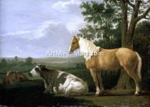 A Horse and Cows in a Landscape