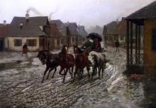 A Journey in the Rain - Alfred Von Kowalski-Wierusz