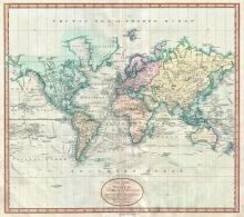 A New Chart of the World, on Mercator's Projection: Exhibiting the Track & Discoveries of the most Eminent Navigators, to the Present Period, 1801 - Vintage Map Collection