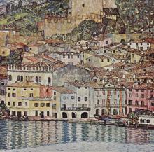 A Scene of Malcesine on Lake Garda - Gustav Klimt