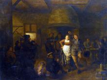 A Tavern Interior with a Bagpiper and a Couple Dancing