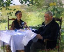 A Tea on the Porch - Willard Leroy Metcalf