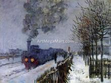 A Train in the Snow, the Locomotive - Claude Oscar Monet