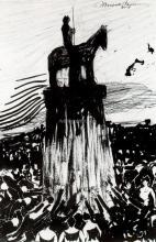 Agitate Crowd Surrounding a High Equestrian Monument - Umberto Boccioni