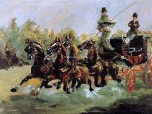 Alphonse de Toulouse-Lautrec Driving His Four-in-Hand - Henri De Toulouse-Lautrec