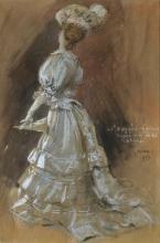 An Elegant Lady with a Parasol - Jules Alexandre Grun