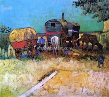 An Encampment of Gypsies with Caravans - Vincent Van Gogh