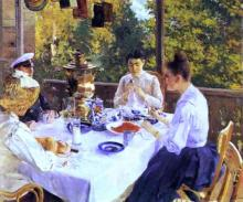 At a Tea Table - Constantin Alexeevich Korovin