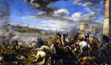 Battle Scene with Infantry Cavalry and Cannon - a Fortress and a City Beyond