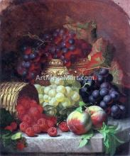 Black Grapes in a Gilt Bowl, Black and White Grapes in a Crystal Bowl, Peaches, Raspberries in a Wicker Basket and a Wasp on a Marble Ledge - Eloise Harriet Stannard