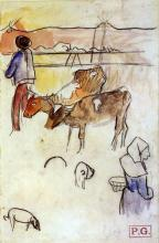 Bretons and Cows (sketch) - Paul Gauguin