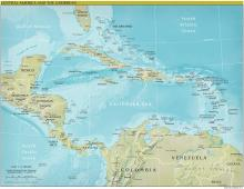 Central America Map - Physical - Map Collection