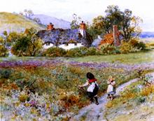 Children Playing On A Path, Cottages Beyond