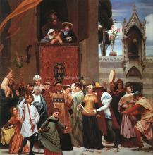 Cimabue's Celebrated Madonna is Carried in Procession through the Streets of Florence, detail of left half - Lord Frederick Leighton