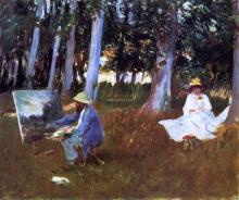 Claude Monet Painting by the Edge of the Woods - John Singer Sargent