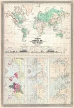Climate Map of the World with Physical Map, Tidal Map, Races and Declination, 1870 - Vintage Map Collection