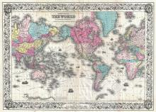 Colton's Map of the World on Mercator's Projection, 1852 - Vintage Map Collection