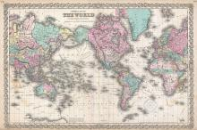 Colton's Map of the World on Mercator's Projection, 1855 - Vintage Map Collection