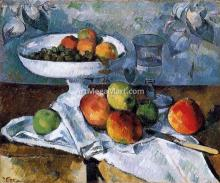 Compotier, Glass and Apples (also known as Still Life with Compotier) - Paul Cezanne