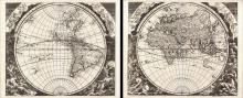 Double Hemisphere Map of the World - Facies una Hemi-sphaerii Terrestris. Facies Altern Hemi-sphaerii Terrestris, 1696 - Vintage Map Collection