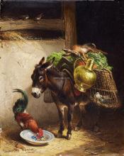 Esel Und Hahn Im Stall - Henriette Ronner-Knip