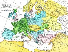 Europe in 814, 1950 - Vintage Map Collection
