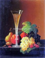 Fruit and a Glass of Champagne on a Tabletop
