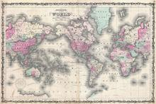 Johnson's Map of the World on Mercator's Projection, 1862 - Vintage Map Collection