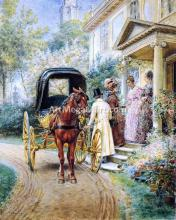 Mrs. Lydig and Her Daughter Greeting Their Guest - Edward Lamson Henry