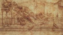 Perspective Study for Adoration of the Magi, Galleria degli Uffizi, Florence