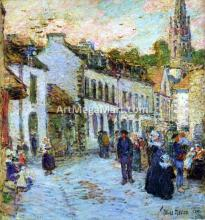 Street in Pont Aven - Evening - Frederick Childe Hassam