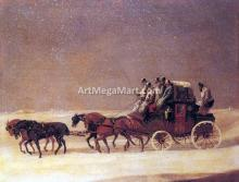 The Derby and London Royal Mail on the Open Road in Winter - Henry Alken